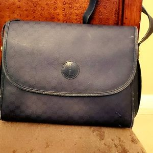Vintage authentic Gucci blue leather crossbody